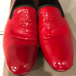 Alexander McQueen Red Leather Skull front loafers